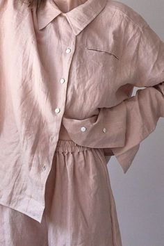 Traditional man style 06 Lounge wear relaxed clay Pink long sleeve shirt with asymmetric button up,can be worn at home,made from stone washed french linen. Cos Dresses, Linen Dresses, Loungewear Set, Tumblr Outfits, Junior Outfits, Home Outfit, Capsule Wardrobe, Pajama Set, Spring Summer Fashion