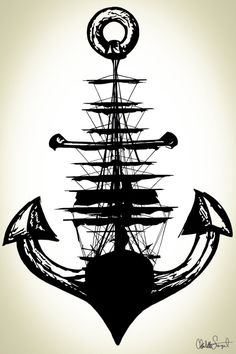 Sailing Ship + Anchor Poster Print // Nautical Wall Art // Home Decor - Beach…
