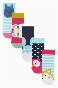 Five Pack  Bright Character Socks (Younger Girls)