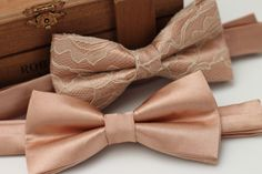 Check out our pre tied bow tie selection for the very best in unique or custom, handmade pieces from our bow ties shops. Rose Gold Tie, Rose Gold Fabric, Gold Bow Tie, Pink Bow Tie, Gold Lace, Gold Tux, Groom Ties, Groom And Groomsmen, Bow Tie Wedding