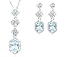 $24.99 - 5 Carat Blue Topaz & White Topaz Pendant and Earrings Set in Sterling Silver