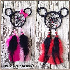 Mickey and Minnie Mouse Dreamcatcher - car charm - Mickey Mouse accessory - rearview mirror dreamcatcher - minnie mouse decor - dreamcatcher
