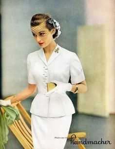 Handmacher White Suit Vogue 1951