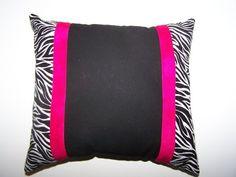 Handmade Zebra Decorative Throw Pillow w/ Pink stripes
