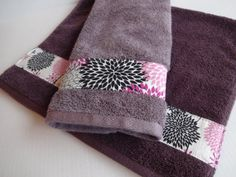 Set of 2 Purple and grey hand towels hand towels by AugustAve, $36.00