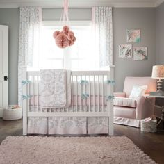 Pink and Gray Rosa Crib Bedding | Pink and Grey Girl Baby Bedding | Carousel Designs