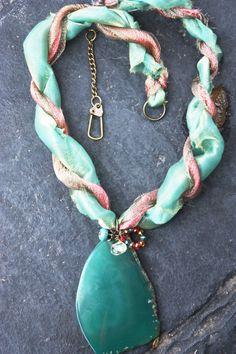 Green Stone Pendant 13 inch Ribbon Necklace
