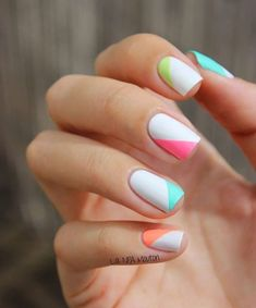 Nail art is a very popular trend these days and every woman you meet seems to have beautiful nails. It used to be that women would just go get a manicure or pedicure to get their nails trimmed and shaped with just a few coats of plain nail polish. Cute Summer Nail Designs, Cute Summer Nails, White Nail Designs, Nail Designs Spring, Spring Nails, Cute Nails, Nail Summer, Spring Summer, Easy Nail Polish Designs