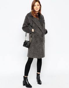 Image 4 of ASOS PETITE Peacoat in Oversize Fit