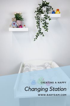 All the elements you need to design your dream nappy changing station for a nursery.