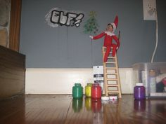 Elf graffiti - how to do it without really painting the walls though... hmmmm