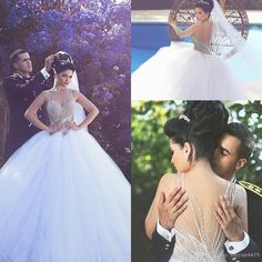 2016 Arabic Ball Gown Wedding Dresses Illusion Neck Crystal Beaded Long Tulle…