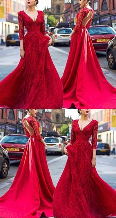 Charming Prom Dress, Red Appliques Long Prom Dresses with Beaded, Long Sleeve Evening Dress P0226 #promdresses #longpromdresses #2018promdresses #fashionpromdresses #charmingpromdresses #2018newstyles #fashions #styles #hiprom #chiffonpromdress #redpromdress