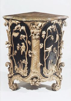 Pair of corner cabinets Date: ca. 1750 Culture: German Medium: Carved, painted and gilded wood.