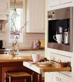 Meile Coffee Maker with built in water line, pull out shelf for setting out snack or condiments for serving with coffee