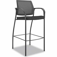 Hon Ignition Series Seating Mesh Back Cafe Height Stool, Black Fabric Upholstery