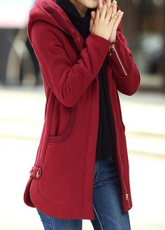 Hooded Collar Zipper Up Wine Red Curved Coat Red Fashion, Winter Fashion, Fashion Outfits, Womens Fashion, Blazer Jackets For Women, Coats For Women, Mode Mantel, Red Gowns, Looks Chic