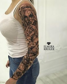 50 Awesome Sleeve Tattoos For Women Which You Will In Love With – Page 13 of 50 - tatoo feminina Hand Tattoos, Skull Sleeve Tattoos, Best Sleeve Tattoos, Tattoo Sleeve Designs, Full Arm Tattoos, Feminine Tattoo Sleeves, Feminine Tattoos, Tattoo Girls, Girl Tattoos