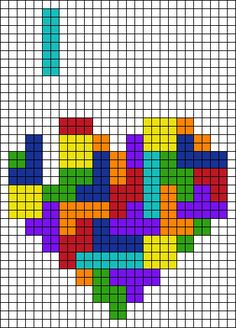 Love Tetris heart perler bead pattern