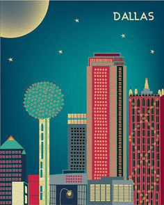 Nightime in Cityscape of  Dallas Texas Art  Poster