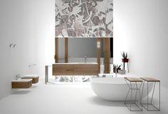 Edoné, Concept Design. Linee pulite ed essenziali per un bagno personalizzabile attraverso oggetti coordinati che riprendono le finiture del mobile. Accessori, complementi e oggetti eco-living, carta da parati e rivestimento dei sanitari in diverse essenze di legno