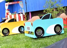 Cardboard box cars from a Drive In Movie Night Birthday Party via Kara's Party…