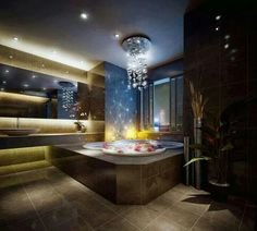 Jacuzzi and stunning chandelier. Luxury Homes Interior, Home Interior Design, Interior Decorating, Interior Designing, Decorating Ideas, Decor Ideas, Dream Home Design, My Dream Home, House Design