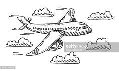 Flugzeug Himmel Wolken Zeichnung