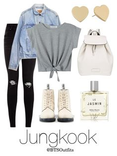 """""""Cute/Flirty Outfit with Jungkook"""" by btsoutfits ❤ liked on Polyvore featuring Levi's, Dr. Martens, Marc by Marc Jacobs, Miller Harris and Kate Spade"""