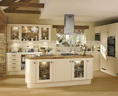 Image Of Cream Kitchen Cabinets Design Ideas Glass Kitchen Cabinet Doors, Kitchen Cabinet Colors, Kitchen Units, Kitchen Colors, New Kitchen, Kitchen Ideas, Kitchen Designs, Country Kitchen, Kitchen Island