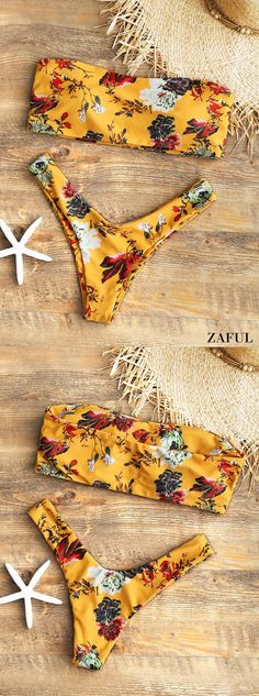 Strapless Floral High Cut Bikini Set. Floral print throughout, this sexy two piece bikini swimwear features a bandeau collar top with padded cups lining, and coordinating thong briefs with high cut leg on the thighs for a little coverage. Both flattering and cute. #Zaful #Swimwear #Bikinis