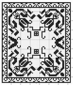Rectangle 01 | Free chart for cross-stitch, filet crochet | gancedo.eu