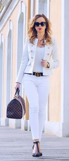Royal Vanilla - Gucci Belt - Ideas of Gucci Belt - Outfit-Style-Fashion-Streetstyle-White-Blazer-Zara-Spring-Summer-Gucci-Gucci Gürtel-Gucci Belt-Louis Vuitton-Speedy-Royal-Chic-Dressy Blazer Outfits Casual, Blazer Outfits For Women, Stylish Outfits, Fashion Outfits, Womens Fashion, Fashion Trends, Style Fashion, Fashion Ideas, Fashion Tips