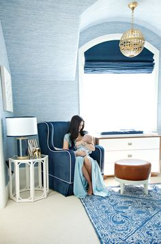 We're taking a peek at Rachel Parcell's nursery for little Jackson. The blue and gold nursery, designed by Oilo Studio, is sophisticated and glamorous. Gold Nursery, Baby Nursery Neutral, Nautical Nursery, Nursery Room, Kids Bedroom, Ocean Nursery, Neutral Nurseries, Elephant Nursery, Baby Boy Rooms