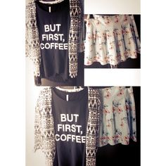 But first, coffee. #coffee #cute #tanktop #top #outfit #fashion #clothes #happy #cardigan #skirt @newyorkeronline