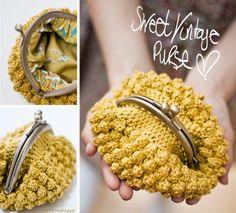 sweet vintage crochet purse by eskimo*rose Crochet Coin Purse, Crochet Purses, Crochet Bags, Diy Handbag, Yarn Thread, Beaded Purses, Vintage Yellow, Knitted Bags, Bead Crochet