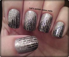 Neutral, black stripes, gold glitter - very pretty