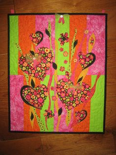 Abstract Art Quilt Wall Hanging with Hearts and Flowers in Pink, Green, and Orange