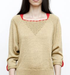 Gold and bright red sweater #handmade #red #knit #crochet #spring #summer #fashion
