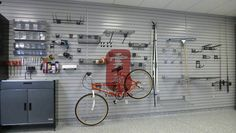 Interlocking metal slat wall can be customized to your space and storage needs.