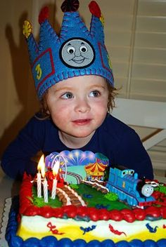 Thomas the train birthday cake & coordinating hat...for the train loving boys!