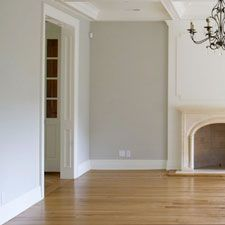Grey walls and light wood flooring. This pretty photo is helping me to appreciate our own light wood floors.
