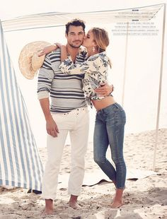 LUCKY BRAND JEANS, SUMMER 2012 CATALOG    Photographer: GUY AROCH; Stylist:   SARAH LOWE  Model: David Gandy  Model: SHANNAN CLICK