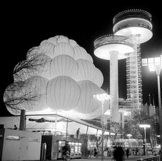 1964  NY Worlds Fair Observation Towers at Night  8 x 8  Photograph