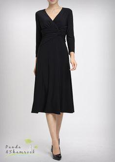 Spring elegance/women dress/V neck/below knee/long sleeves. $69.00, via Etsy.