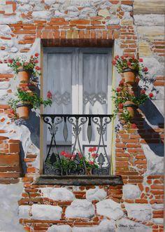 balcone fiorito dipinto a olio su tela