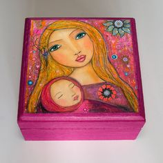 Motherhood Jewelry Box, Mother and Baby Wooden Trinket Box, Handmade Wood Jewelry Box