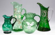ASSORTED VICTORIAN DECORATED PITCHERS, LOT OF FOUR