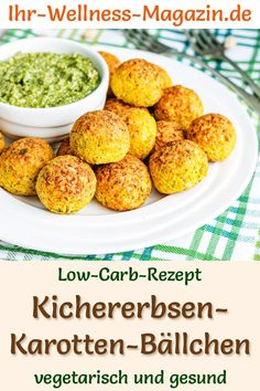 Low Carb Kichererbsen-Karotten-Bällchen mit Pesto – vegetarisches Hauptgericht Low carb recipe for chickpea and carrot balls – vegetarian dinner or lunch – low in carbohydrates, low in calories, healthy and ideal for losing weight Easy Healthy Recipes, Paleo Recipes, Low Carb Recipes, Healthy Snacks, Easy Meals, Lunch Recipes, Vegetarian Main Course, Vegetarian Main Dishes, Vegetarian Lunch