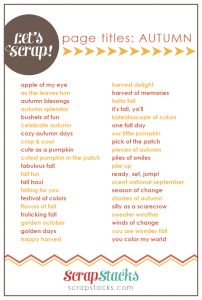autumn page title ideas for scrapbooking from Scrap Stacks